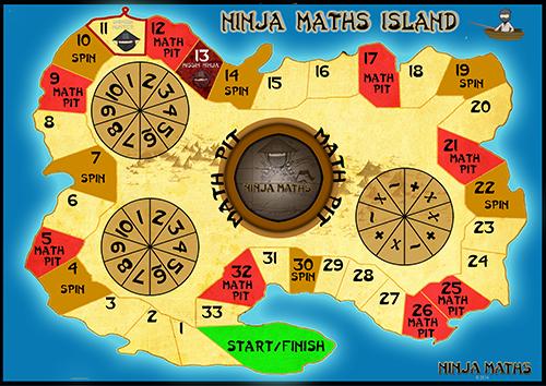 Ninja Maths Island Board Game Ninja Maths